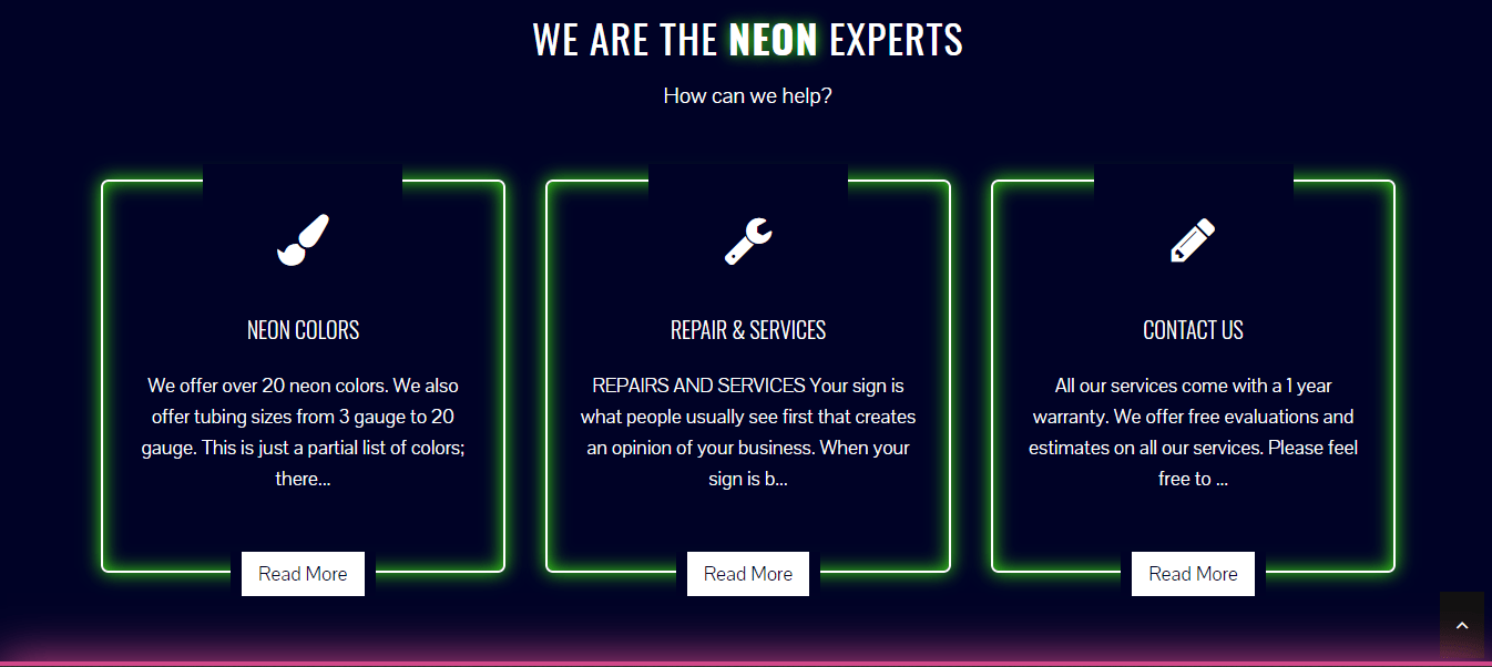 Ace Neon Factory new website featured sections