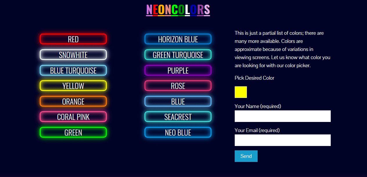 Ace Neon Factory new website color picker in contact form