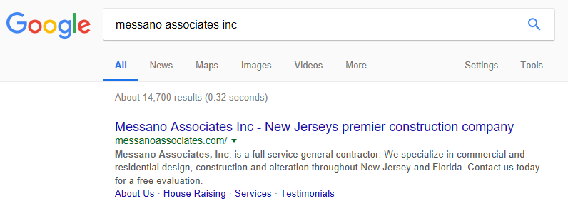messano associates inc after search results screenshot