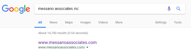 messano associates inc before search results screenshot