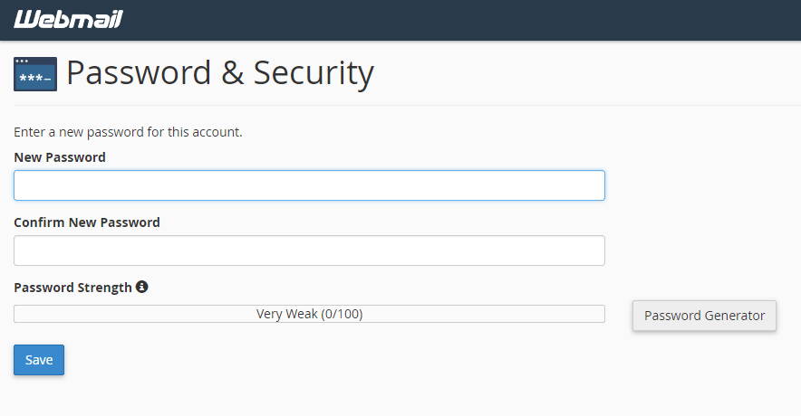 RoundCube reset password page