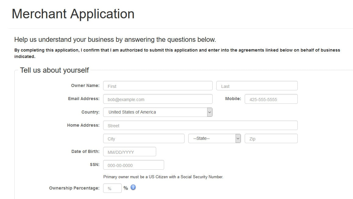 Authorize.net application form screenshot