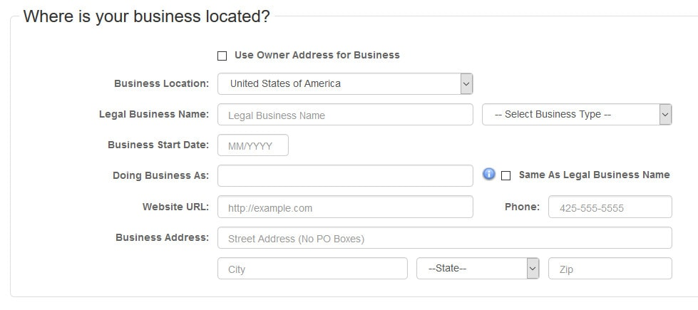 Authorize.net merchant application form screenshot