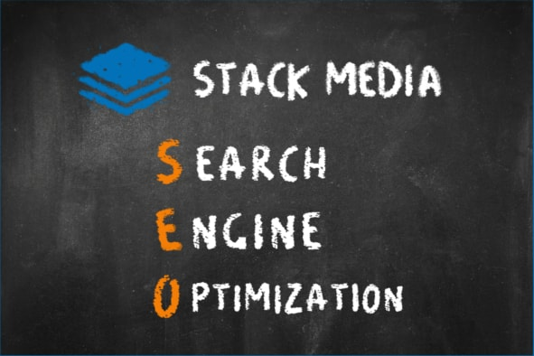 SEO definition on a chalkboard